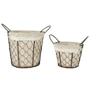 Blossom Bucket 2 Piece Wire Basket w/ Fabric Handles Set (Set of 2)