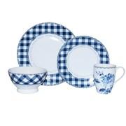 222 Fifth Floral Plaid Blue 16 Piece Dinnerware Set