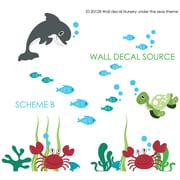 Wall Decal Source Dolphin, Turtle, Ocean Under the Sea Wall Decal; Scheme B