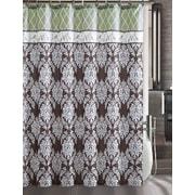 Luxury Home Brookdale Embossed Microfiber Shower Curtain; Green/Brown