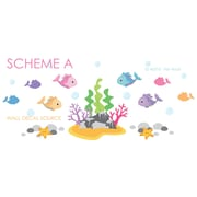 Wall Decal Source Under the Ocean Fish, Under The Sea, Rock and Coral Vinyl Wall Decal; Scheme A