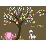 Wall Decal Source Nursery Tree, Owl and Elephant Wall Decal; Scheme A