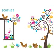 Wall Decal Source Tree, Squirrels, Owls and Birds Nursery Wall Decal; Scheme B