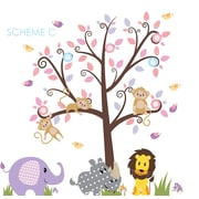 Wall Decal Source Nursery Tree, Lion and Elephant Vinyl Wall Decal; Scheme C