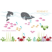 Wall Decal Source Dolphin and Whale Under the Sea Reusable and Removable Wall Decal; Scheme C