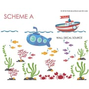 Wall Decal Source Boat, Submarine Reusable and Removable Nursery Monogram Wall Decal; Scheme A
