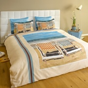 ARTnBED Chairs on the Beach 3 Piece Reversible Duvet Cover Set; Full/Queen