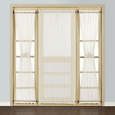 United Curtain Co. Batiste Full Door Rod Pocket Single Curtain Panel; Natural