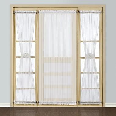 United Curtain Co. Batiste Full Door Rod Pocket Single Curtain Panel; White