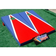Victory Tailgate Matching Triangle Cornhole Bean Bag Toss Game; Light Red and Royal Blue