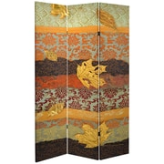 Oriental Furniture 84'' x 38.75'' Tall Double Sided October Gold Canvas 3 Panel Room Divider