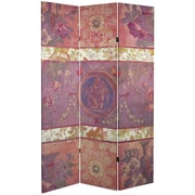 Oriental Furniture 71'' x 38.75'' Tall Double Sided Vintage Emblem Canvas 3 Panel Room Divider