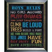 Pictures and Mirrors Boys Rules Framed Wall Art