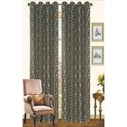 Kashi Home Chloe Outdoor Faux Silk Curtain Panel; Chocolate / Sage
