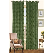 Kashi Home Chloe Outdoor Faux Silk Curtain Panel; Olive / Chocolate