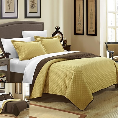 Chic Home Teresa 3 Piece Twin Quilt Set; Gold WYF078278003398