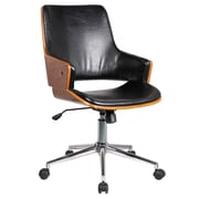 Porthos Home Solene High-Back Leather Office Chair with Arms; Polished Obsidian