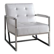 A&J Homes Studio Neo Tufted Leather Arm Chair; White