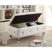 AC Pacific Storage Entryway Bench; Off-White