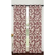Popular Bath Products Alexandra Curtain Panel (Set of 2); Beige/Burgun