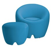 OMO Modern Memory Foam Lounge Chair with Ottoman; Arctic Blue