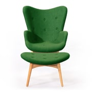 Kardiel Contour Grant Featherston Wing Arm Chair and Ottoman; Wheatgrass