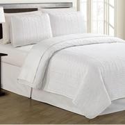 Linen Depot Direct Crusoe 2 Piece Quilt Set; White