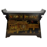 Oriental Furniture Altar 2 Drawer Cabinet; Black Lacquer