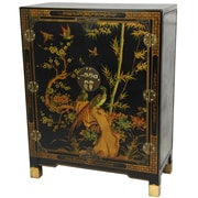 Oriental Furniture Nestling Birds Cabinet; Black Lacquer