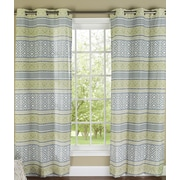 m.style Padova Printed Grommet Window Curtain Panel (Set of 2); Sage / Silver