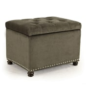 AdecoTrading Accents Rectangular Tufted Storage Ottoman; Light Gray