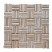Ecotessa Terra Thatch 16.54'' x 16.54'' Teakwood Hand-Painted Tile in Coral