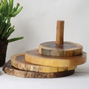 Creative Co-Op Pure 5 Piece Round Madre De Cacao Wood Coasters w/ Stand Set