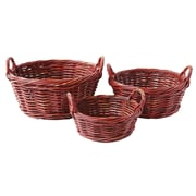 Creative Co-Op Grange 3 Piece Round Arugog Baskets with Handle Set (Set of 3)