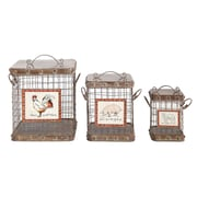 Creative Co-Op Country 3 Piece Tin and Wire Basket w/ Lid and Farm Animal Set (Set of 3)