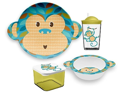 TarHong Friendly Faces Melamine Monkey Childrens 4 Piece Place Setting WYF078277611601