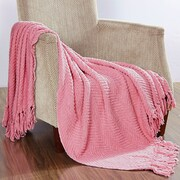 BOON Throw & Blanket Knitted Tweed Throw Blanket; Candy Pink