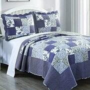 DaDa Bedding 3 Piece Plaid Floral Blueberry Patch Quilt Set; King