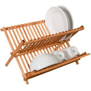 Sweet Home Collection Two Level Folding Kitchen Counter Top Bamboo Dish Rack