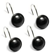 Sweet Home Collection Resin Shower Curtain Hook (Set of 12); Black