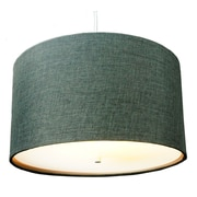 Home Concept 2 Light Drum Pendant; Granite Grey Burlap