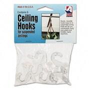 Adams Mfg. Corp. Clear Plastic Ceiling Hooks, 5/16 X 3/4 X 1-3/8, 6 Hooks/Pack