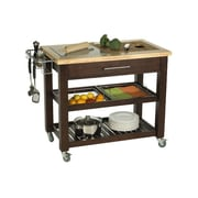 Chris & Chris Pro Chef Kitchen Island w/ Granite and Wood Top; Espresso