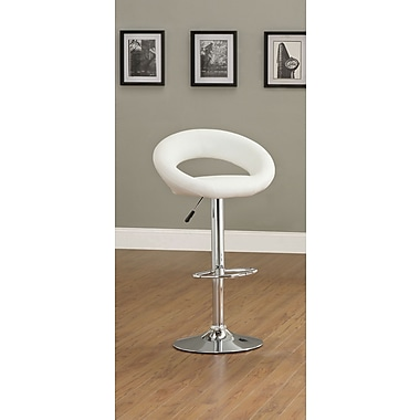 Hokku Designs Theory Adjustable Height Swivel Bar Stool with Cushion (Set of 2); White