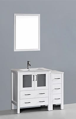 Bosconi Contemporary 42'' Single Bathroom Vanity Set with Mirror; Glossy White