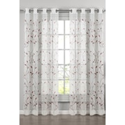 Window Elements Wavy Leaves Embroidered Sheer Grommet Single Curtain Panel; Rust/Light Pink