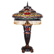 River of Goods Parisian Double Lit Tiffany Style Stained Glass  27.5'' H Table Lamp