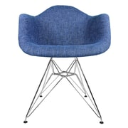 eModern Decor Mid Century Modern Arm Chair; Denim Blue