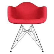 eModern Decor Mid Century Modern Arm Chair; Vibrant Red