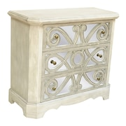 Crestview Ashlynn Chalky 3 Drawer Mirrored Chest